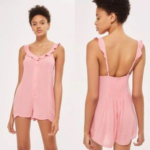 Topshop Pink Strappy Frill Ruffle Neck Romper
